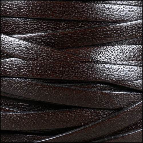 Camel 10mm Flat Leather Cord - DARK BROWN - per inch