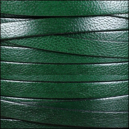 Camel 10mm Flat Leather Cord - FOREST GREEN - per inch
