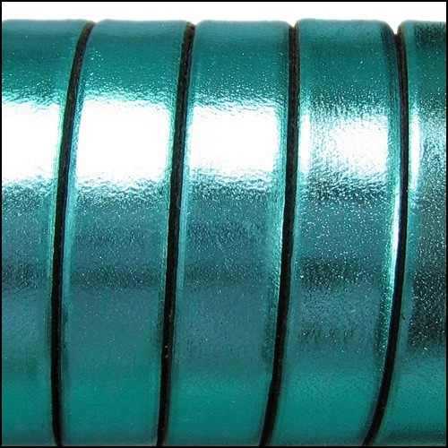 Electric Metallic 10mm Flat Leather Cord - Turquoise - per inch