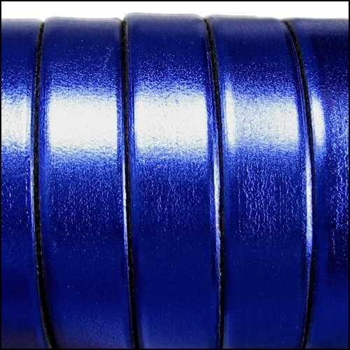 Electric Metallic 10mm Flat Leather Cord - Cobalt Blue - per inch