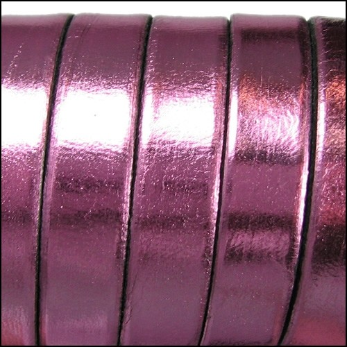 Electric Metallic 10mm Flat Leather Cord - Rose - per inch
