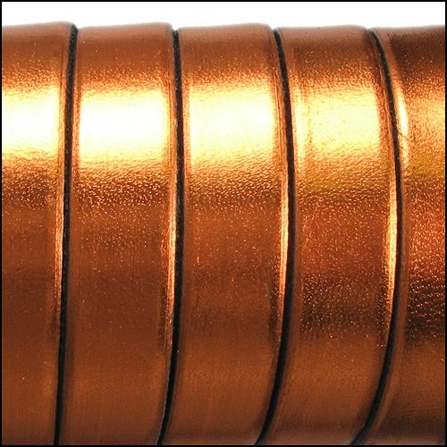 Electric Metallic 10mm Flat Leather Cord - Copper - per inch