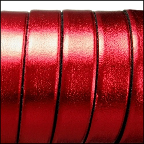Electric Metallic 10mm Flat Leather Cord - Red - per inch