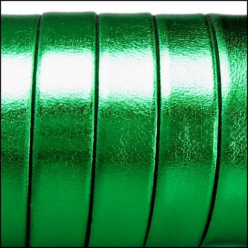 Electric Metallic 10mm Flat Leather Cord - Green - per inch
