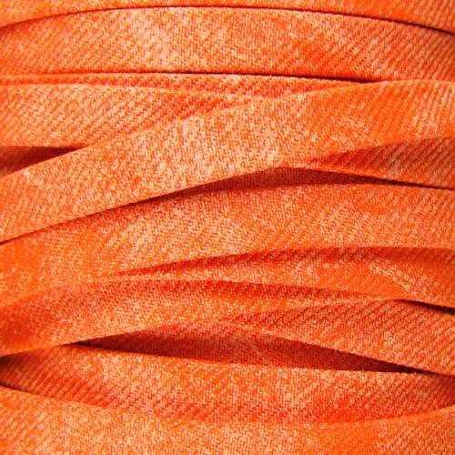 Faded Denim 10mm Flat Knit Cord - Orange - per inch
