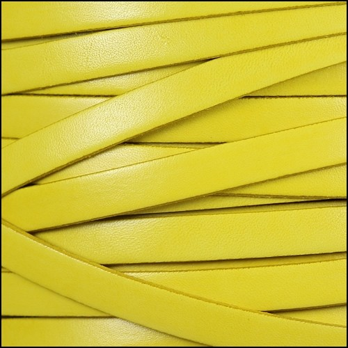 Italian Dolce 10mm Flat Leather Cord - Lemon