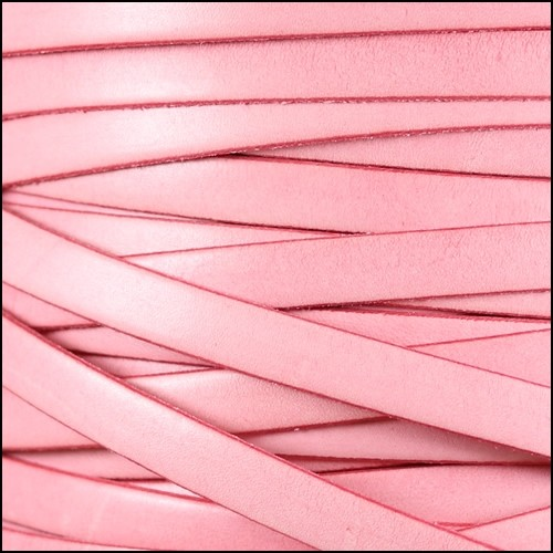 Italian Dolce 10mm Flat Leather Cord - Carnation