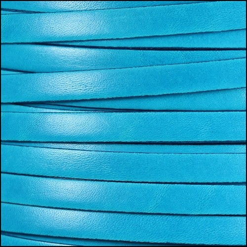 Italian Dolce 10mm Flat Leather Cord - Turquoise