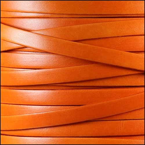 Italian Dolce 10mm Flat Leather Cord - Tangerine