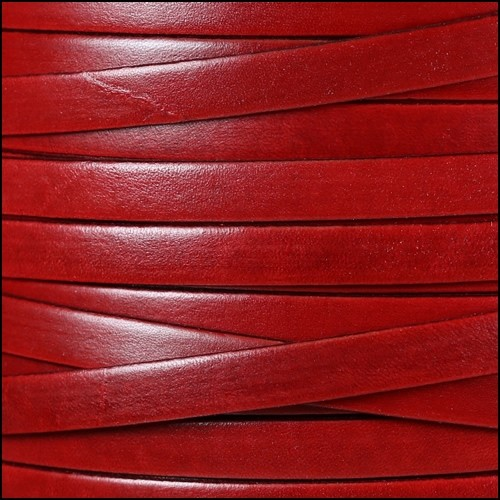 Italian Dolce 10mm Flat Leather Cord - Strawberry