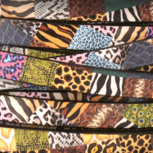 Ornate 10mm Printed Italian Flat Leather Cord - Animal Collage