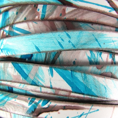 10mm Flat Leather Cord - Turquoise / Bronze