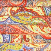 Ornate 10mm Printed Italian Flat Leather Cord - Yellow Blue Paisley - per inch