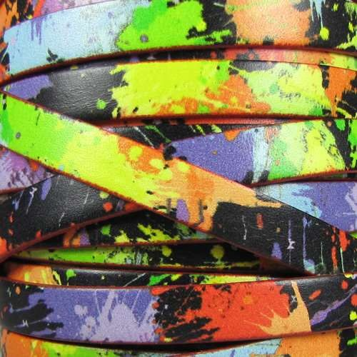 Ornate 10mm Printed Italian Flat Leather Cord - Neon Splatter - per inch