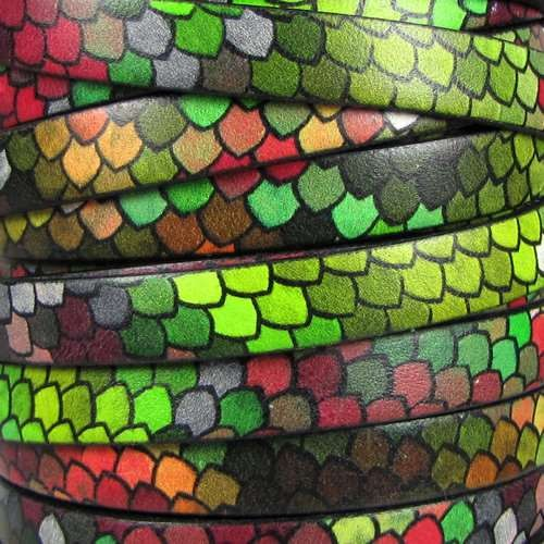 Ornate 10mm Printed Italian Flat Leather Cord - Stain Glass - per inch