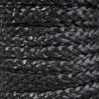 3 Strand Braided 10mm Flat Leather Cord - Black