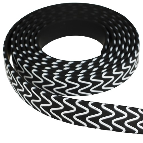 Fantasy 10mm Flat PVC Cord - Black with White Squiggles