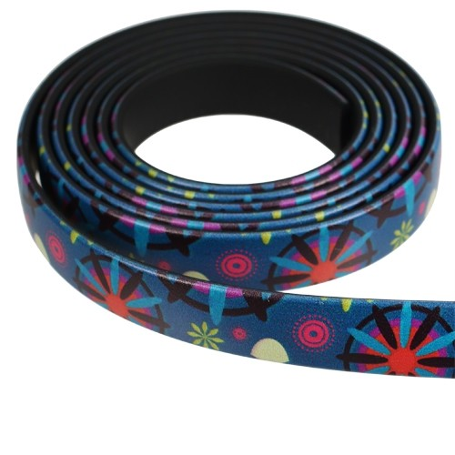 Fantasy 10mm Flat PVC Cord - Teal Shapes