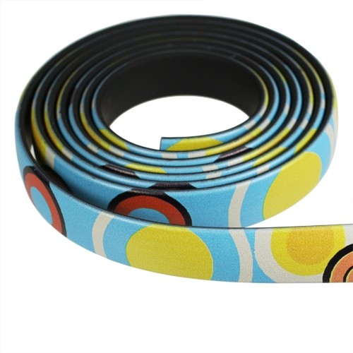 Fantasy 10mm Flat PVC Cord - Multi-Color Large Circles