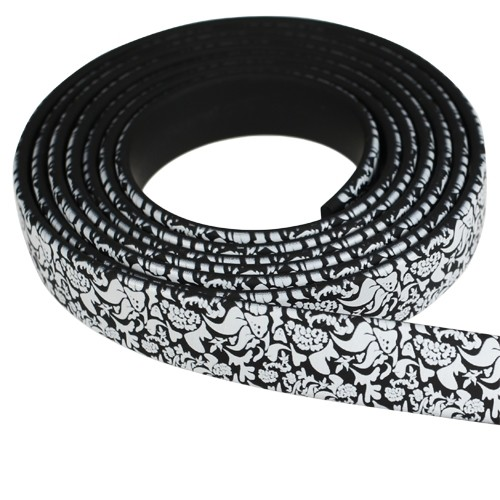 Fantasy 10mm Flat PVC Cord - Black & White Floral