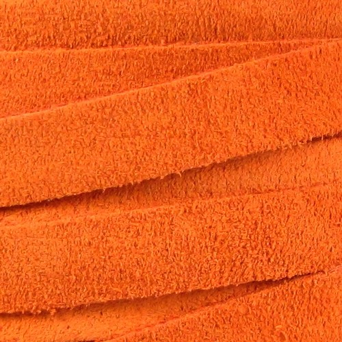 Suede 10mm Flat Cord - Orange