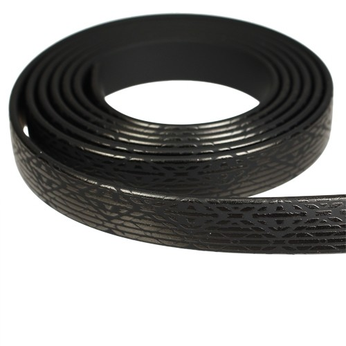 Fantasy 10mm Flat PVC Cord - Black on Black Art Deco - per inch