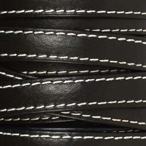 Gorgeous Goat 10mm Stitched Flat Leather Cord - Black