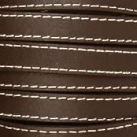 Gorgeous Goat 10mm Stitched Flat Leather Cord per 2 Meters - Dark Brown