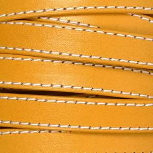 10mm Stitched Flat Leather Cord - Mustard - per inch