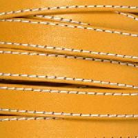 Gorgeous Goat 10mm Stitched Flat Leather Cord per 2 Meters - Mustard