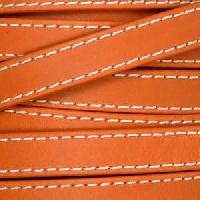 Gorgeous Goat 10mm Stitched Flat Leather Cord per 2 Meters - Orange