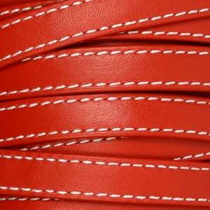 Gorgeous Goat 10mm Stitched Flat Leather Cord - Red