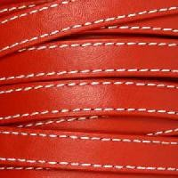 Gorgeous Goat 10mm Stitched Flat Leather Cord per 2 Meters - Red