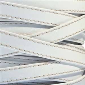 10mm Stitched Flat Leather Cord - White - per inch