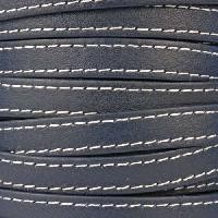 Gorgeous Goat 10mm Stitched Flat Leather Cord per 2 Meters - Navy