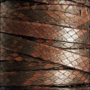 Genuine Snakeskin 10mm Flat Leather Cord - Brandy