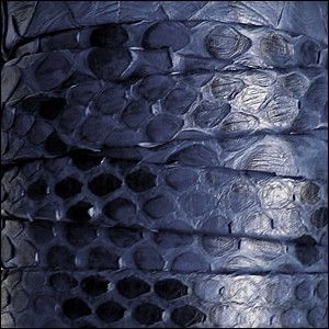 Genuine Snakeskin 10mm Flat Leather Cord - Blue - per inch