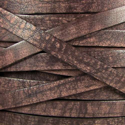 Old World 10mm Flat Leather Cord - Dark Brown