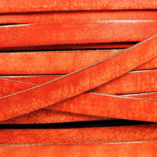 Old World 10mm Flat Leather Cord - Orange