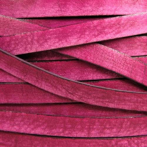 Old World 10mm Flat Leather Cord - Cerise