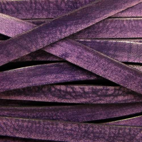 Old World 10mm Flat Leather Cord - Purple