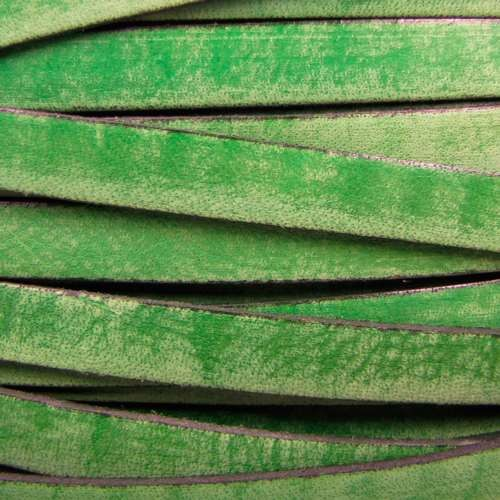 Old World 10mm Flat Leather Cord - Green