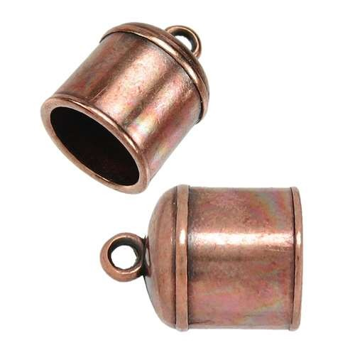 10mm Bell End Cap Loop Round Leather Cord Clasp (2) - Antique Copper