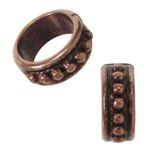 10mm Dots Round Leather Cord Slider - Antique Copper