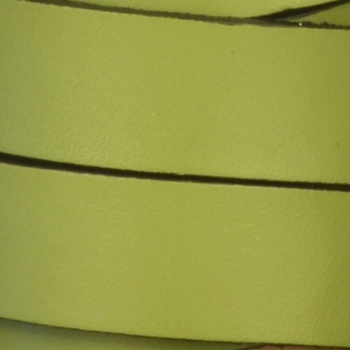 15mm Flat Leather Cord - Olive Green - per inch