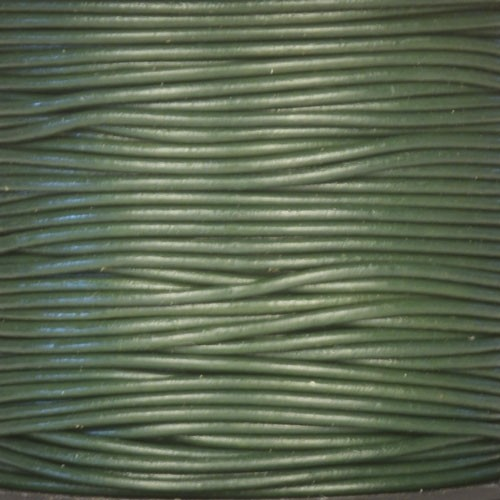 1.5mm Round Indian Leather Cord -  Metallic Dark Olive Green - per yard