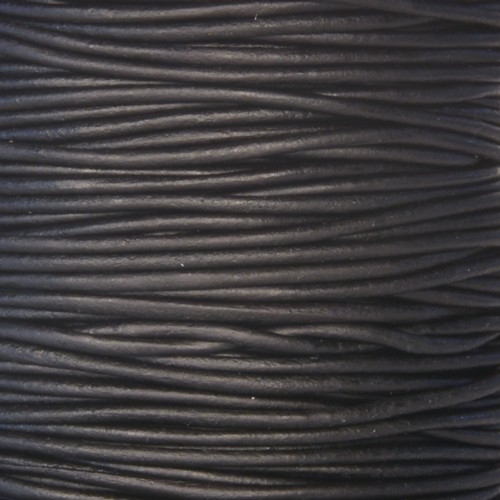 1.5mm Round Indian Leather Cord - Black - per yard
