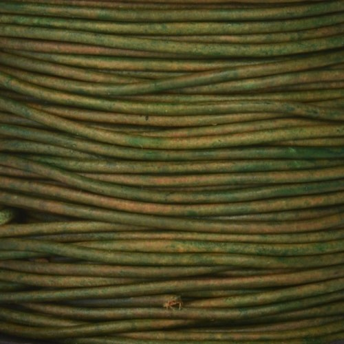 1.5mm Round Leather Cord - Natural Dark Green
