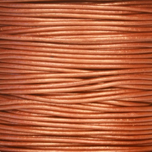 1.5mm Round Indian Leather Cord - Metallic Red Copper