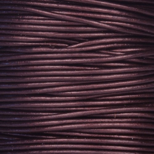 1.5mm Round Indian Leather Cord - Metallic Maroon